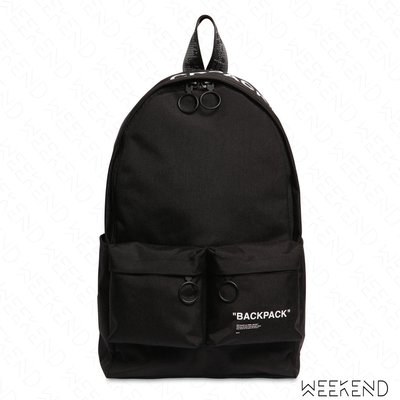 【WEEKEND】 OFF WHITE Quote Backpack 後背包 黑色 18秋冬
