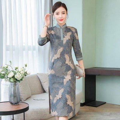 日和生活館 改良旗袍裙洋裝連身裙中長版長袖中國風宴會禮服S686