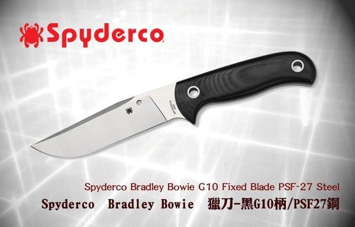 【angel 精品館 】Spyderco Bradley Bowie獵刀-黑G10柄PSF27鋼FB33GP