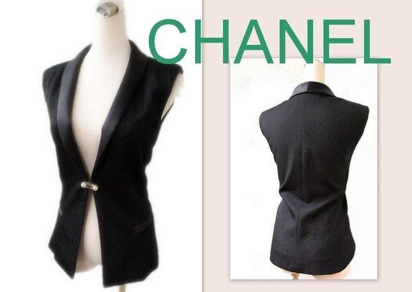 *Beauty*CHANEL香奈兒水鑽釦珍珠釦緞面領禮服背心 WE12