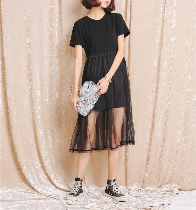 SeyeS fruits街頭個性簡約拼接紗裙黑色洋裝