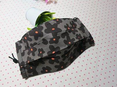 手作~日本薄棉~灰底黑色花朵~口罩套~可放濾材~適用醫療口罩更換(成人)
