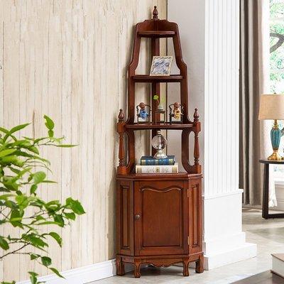 促銷款復古做舊美式角落櫃 床頭櫃 書櫃 櫥櫃 展示櫃 公仔櫃 模型櫃浴室收納櫃置物架xc