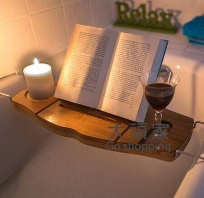 浴缸置物架 浴缸架泡澡浴缸置物架浴缸置物隔板伸縮防滑竹浴室置物架T-紫色薇洋-可開發票