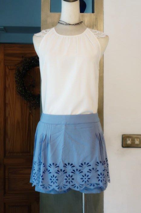 [C.M.平價精品館]L碼現貨最後一件出清特價/設計師精品專櫃別緻縷空花邊裙襬假兩件藍色褲裙