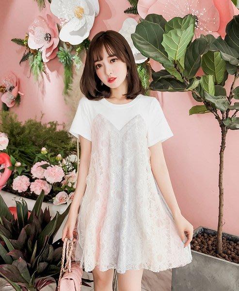 ❤Shinena 千奈公主❤ 漸變色夢幻蕾絲網紗拼接假二件洋裝(S,M,L) 韓國洋裝