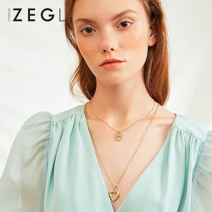 鎖骨鏈 項鏈 吊墜 項鏈 韓系 禮物 ZEGL雙層項鏈女鎖骨鏈吊墜款冷淡風小眾設計毛衣鏈短