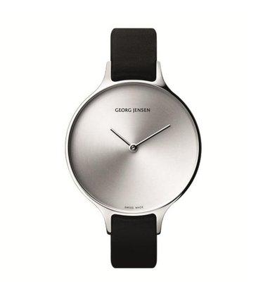 GEORG JENSEN 喬治傑生 CONCAVE 315系列 30mm光芒小錶盤黑色錶帶女腕錶【真品現貨】