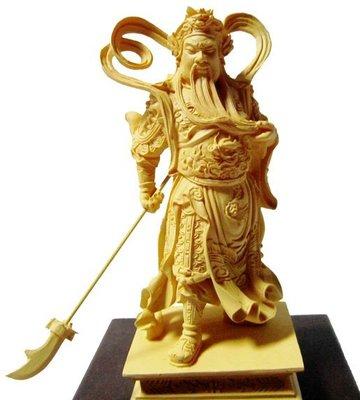 免運 養慧軒  金剛砂陶土精雕佛像 迦藍關公(木色),台灣作品,採人工雕塑與繪製而成;質地堅硬,出貨前會先加持淨化