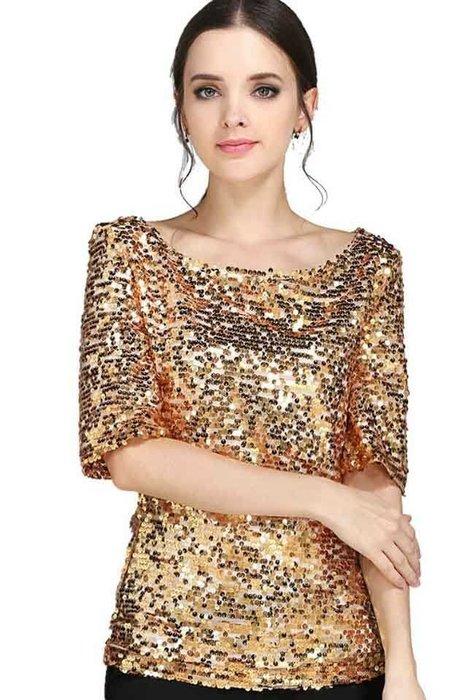 艾蜜莉舞蹈用品*表演服裝*加大碼金色亮片短袖上衣$450元