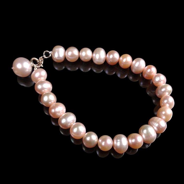 《博古珍藏》天然南洋粉色珍珠手鍊手環.15公克.珠徑7mm.禮盒禮物飾品.橢圓飽滿.底價回饋