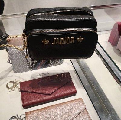 Dior JADIOR Pouch S7015 CVQR 小牛皮鍊帶雙層相機包 黑