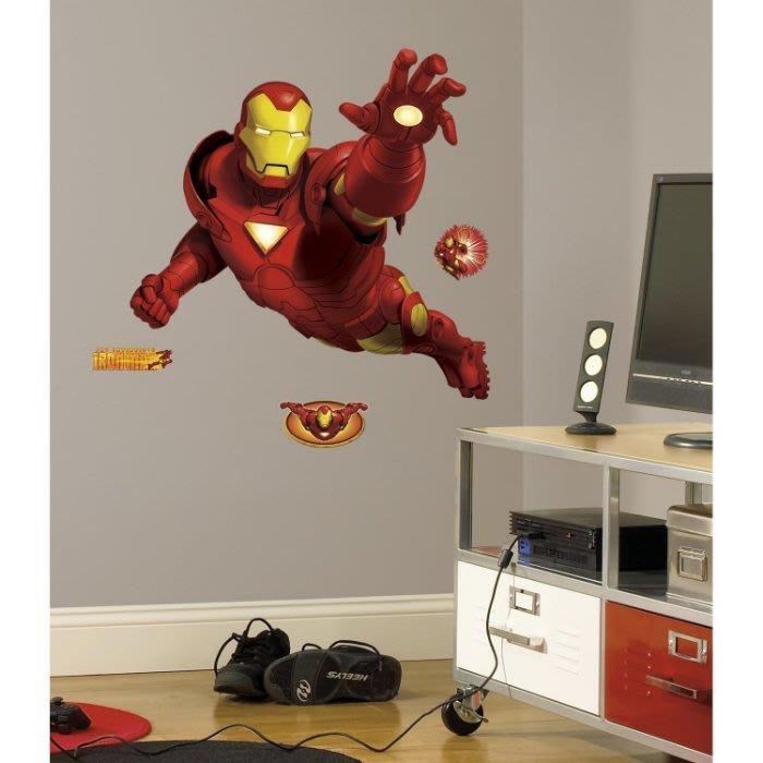【KIDS FUN USA】RoomMates Marvl Iron Man《大型鋼鐵人》防水壁飾DIY重複貼/美國原裝