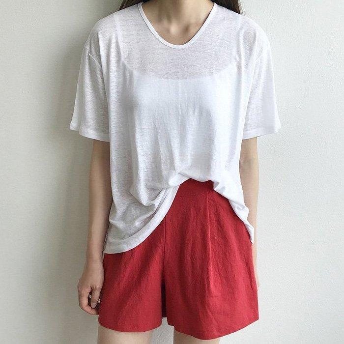 休閒短褲 正韓 非買不可極緻高腰棉麻短褲 艾爾莎 【TA570110】