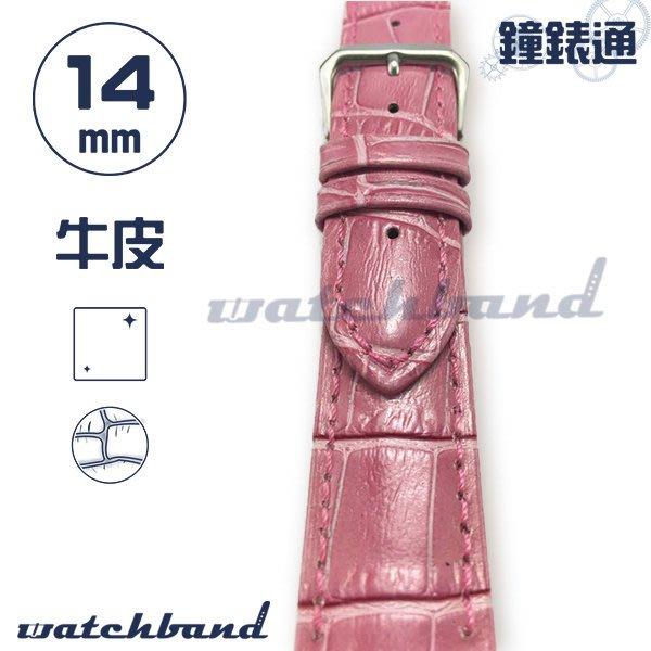 【鐘錶通】C1-32AR《簡約系列》大花鱷魚紋-14mm 蜜桃粉  /手錶錶帶/大花鱷魚紋/牛皮錶帶/