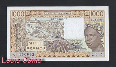 【Louis Coins】B1130-WEST AFRICAN STATES-1981-1990西非象牙海岸紙幣