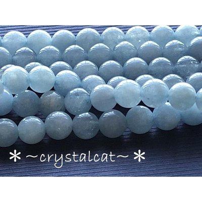 *~水晶貓~批發水晶/玉石DIY材料~*天然海藍寶串珠材料8mm