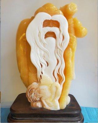 62斤凈重壽星擺件 正宗印尼金田黃 金凍石 石雕 純手工雕刻 篆刻