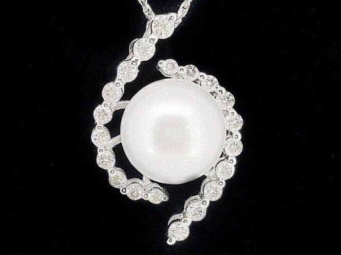 天然南洋白珍珠【12mm】 20顆頂級天然美鑽 白K金墬台