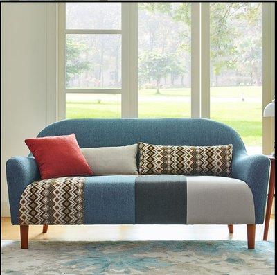 新款拼色日式田園創意梳化單人雙人三人座北歐客廳書房布藝梳化沙發