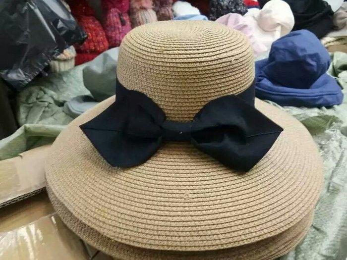 粉紅玫瑰精品屋~春夏蝴蝶結可折叠防曬沙灘帽 漁夫帽~