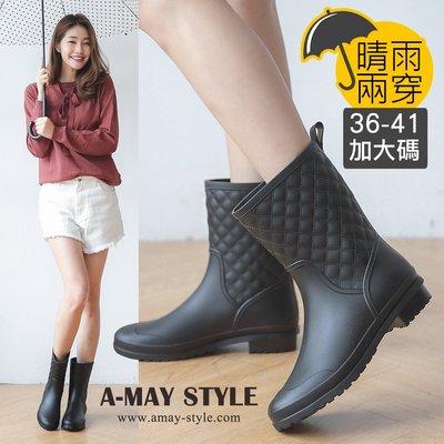現貨雨靴-兩穿經典格紋中筒靴(36-41加大碼)【XP913】