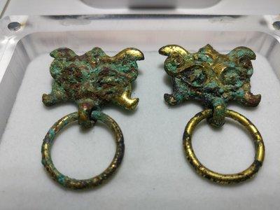 銅獸頭兩件
