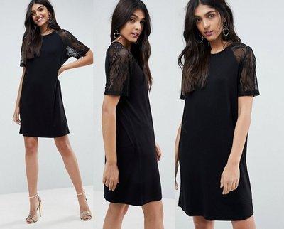 ◎美國代買◎ASOS網紗蕾絲袖拼接直筒剪裁經典時尚百搭款蕾絲袖直筒連身洋裝~歐美街風~大尺碼