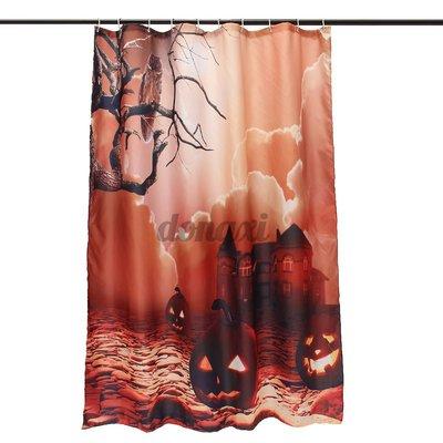 新品~現貨~150x180cm織物浴室淋浴簾HALLOWEEN OWL PUMPKINS HAUNTED HOUSE-X