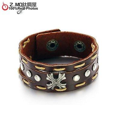 優質牛皮手環 X造型皮環 特別手環 情侶手環推薦 單件價【CKAL773】Z.MO鈦鋼屋