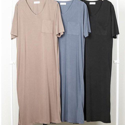 韓國空運休閒洋裝正韓 單口袋V領下襬開叉連身裙 艾爾莎【TLS00225】