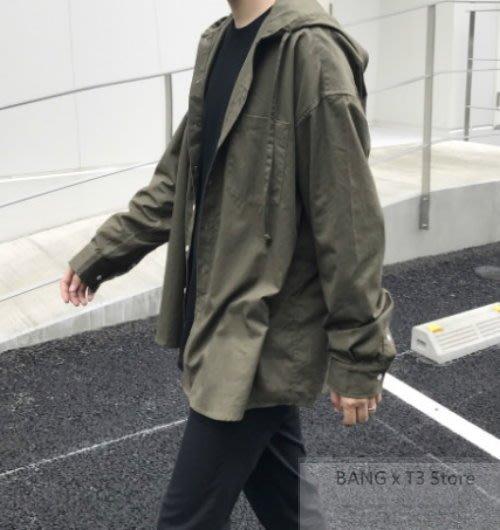 BANG◎oversize寬鬆連帽外套 百搭 襯衫 休閒 連帽外套 寬鬆 軍綠 連帽 落肩 男生【MB06】