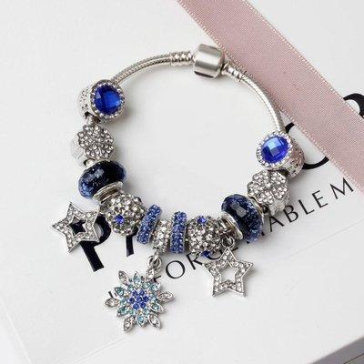 水晶串珠手鍊 藍色系水晶 歐美風創意飾品女手環手鐲yq117