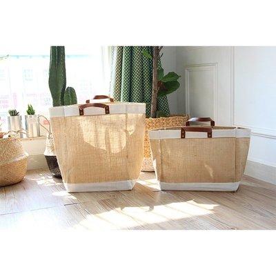 黑五購物節 Zakka黃麻布藝購物袋防水大小號簡約手提袋宜家袋