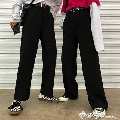 Korea studios.18韓國復古百搭休閒西裝厚料拖地闊腿長褲 男女款