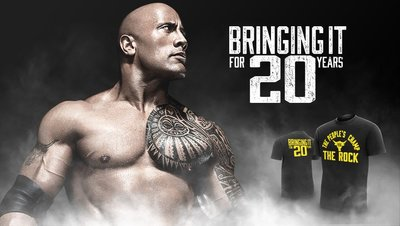 ☆阿Su倉庫☆WWE The Rock Bringing It For 20 Years T-Shirt 巨石強森 特價