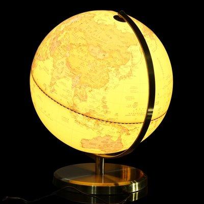 地球儀地球儀32cm學生用高清仿古立體浮雕臺燈大號歐式辦公室裝飾擺件哆啦A珍