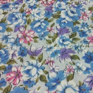 藍底玫瑰花純棉花布 90cm寬 被單布/客家花布/抱枕/枕套/門簾/窗簾/衣服