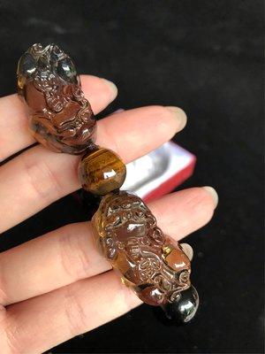 冰種黑曜琉璃貔貅手珠