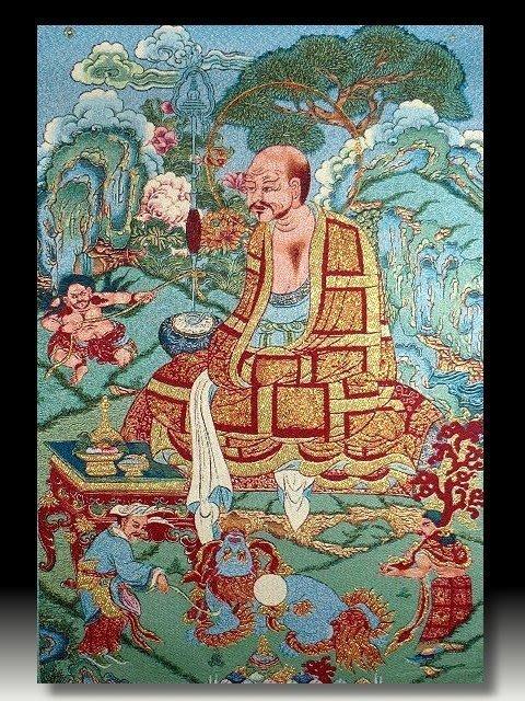 【 金王記拍寶網 】S650 中國西藏藏密佛像刺繡唐卡 密宗唐卡一張 完美罕見~