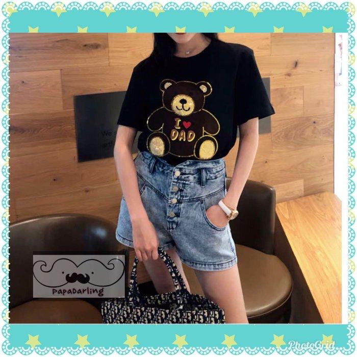 PapaDarling 19SS 超質感時尚小熊刺繡修身圓領短袖上衣 T恤