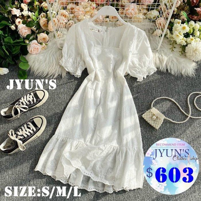 JYUN'S 夏季新款法式氣質高腰布蕾絲純白純真方領收腰顯瘦女神短袖洋裝連身裙 1色S/M/L預購