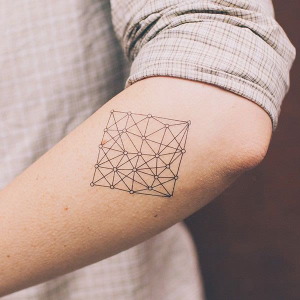 【萌古屋】幾何大方塊星星鑽石HC-122 - 男女防水韓風簡約紋身貼紙微刺青貼紙