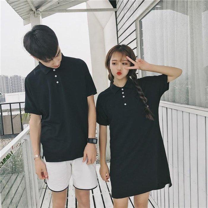 情侶裝夏裝2018新款韓版純色寬鬆顯瘦POLO衫短袖T恤連衣裙女學生