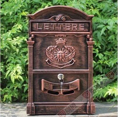 『格倫雅品』室外歐式別墅信報箱鑄鋁信箱防銹復古郵箱掛牆帶鎖-太陽紫銅色