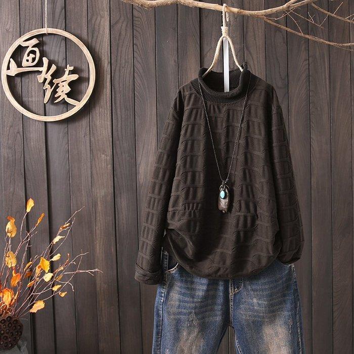 長袖棉麻衫 T恤 純棉 復古 文藝少女 復古文藝寬松提花套頭半高領打底衫T恤冬季大碼上衣