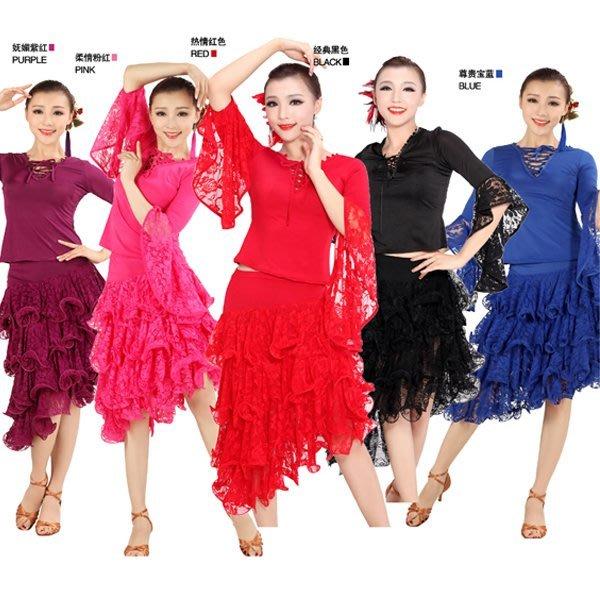 5Cgo【鴿樓】會員有優惠 20288953444 廣場舞蹈服裝套裙 長袖拉丁舞裙套裝 廣場舞衣套裝 拉丁舞裙