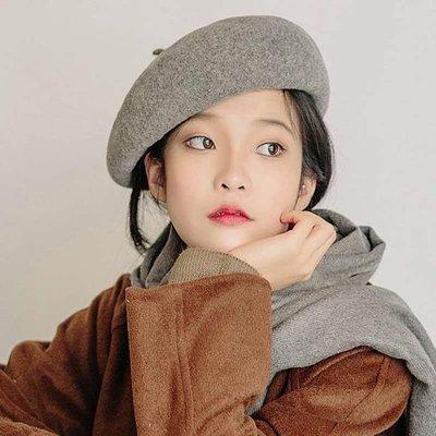 帽子女秋冬季貝雷帽羊毛呢帽新款韓版百搭南瓜帽女畫家帽日系學生