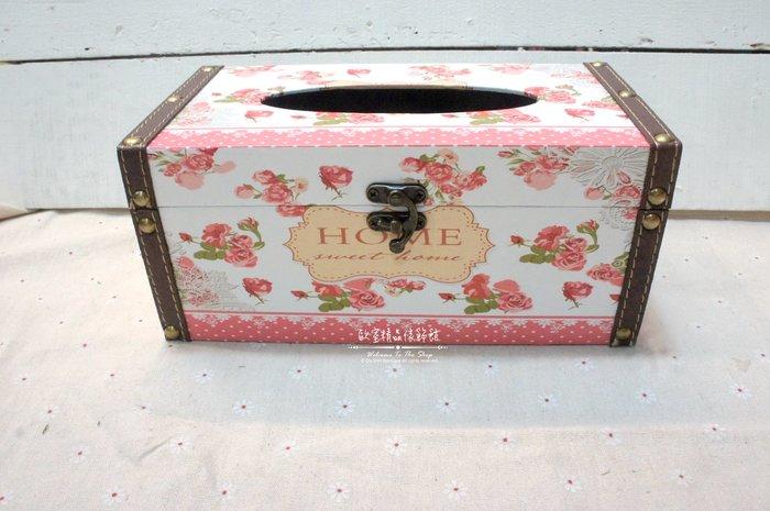 ~*歐室精品傢飾館*~Loft工業 美式鄉村 鄉村風格 花卉 玫瑰  木盒 鉚釘 皮革 扣環 面紙盒~新款上市~