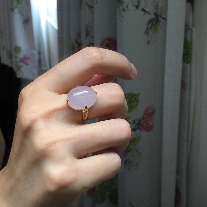 🌸翡麗寶盒🌸翡翠A貨冰底粉紫粉紅鴿子蛋18k戒指